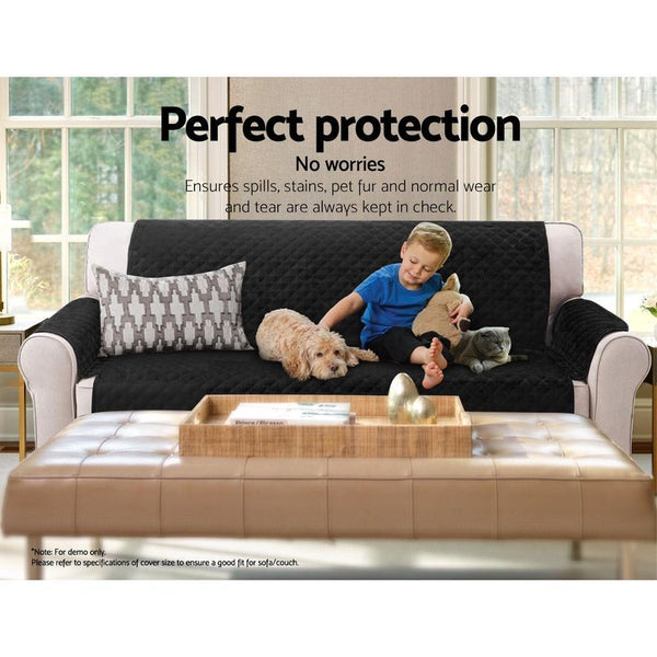 Artiss Sofa Cover Quilted Couch Covers Protector Slipcovers 1 Seater Black