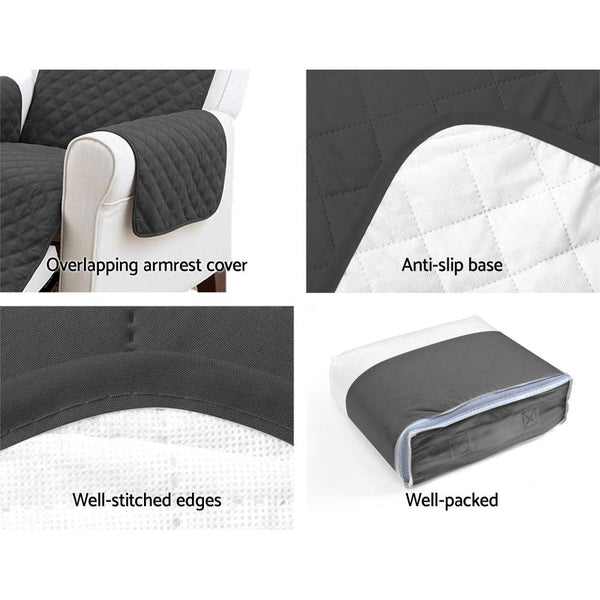 Artiss Sofa Cover Quilted Couch Covers Protector Slipcovers 1 Seater Dark Grey