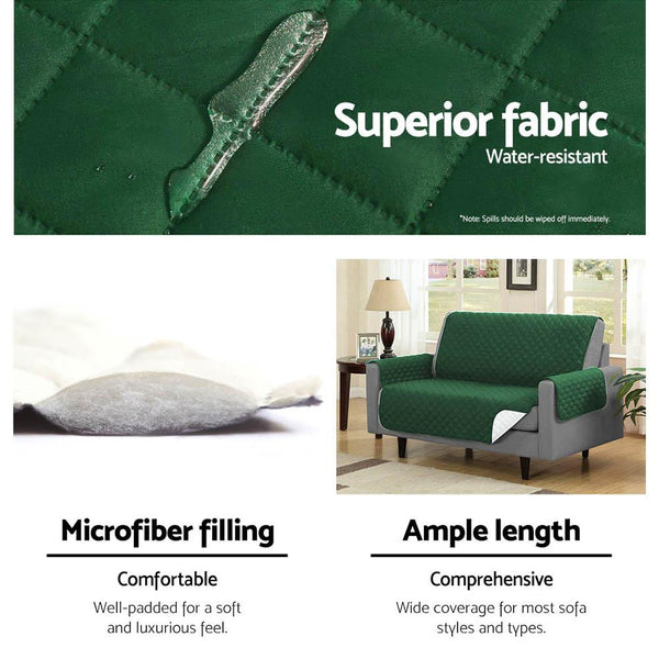Artiss Sofa Cover Quilted Couch Covers Protector Slipcovers 1 Seater Green
