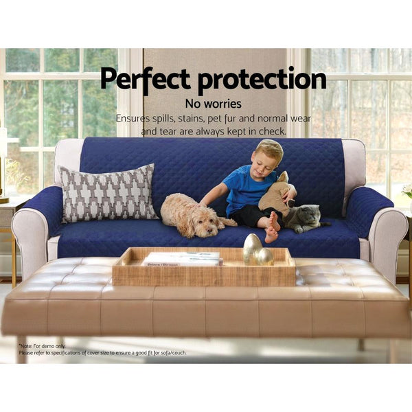 Artiss Sofa Cover Quilted Couch Covers Protector Slipcovers 1 Seater Navy