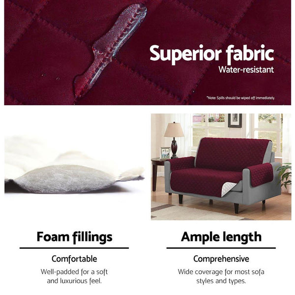 Artiss Sofa Cover Quilted Couch Covers Protector Slipcovers 1 Seater Burgundy