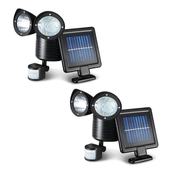 2X 22 LED Solar Powered Dual Light Security Motion Sensor Flood Lamp Outdoor