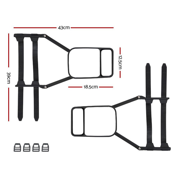 2x Towing Mirror Clip Universal Multi Trailer Caravan Car Truck Vehicle 4WD Pair