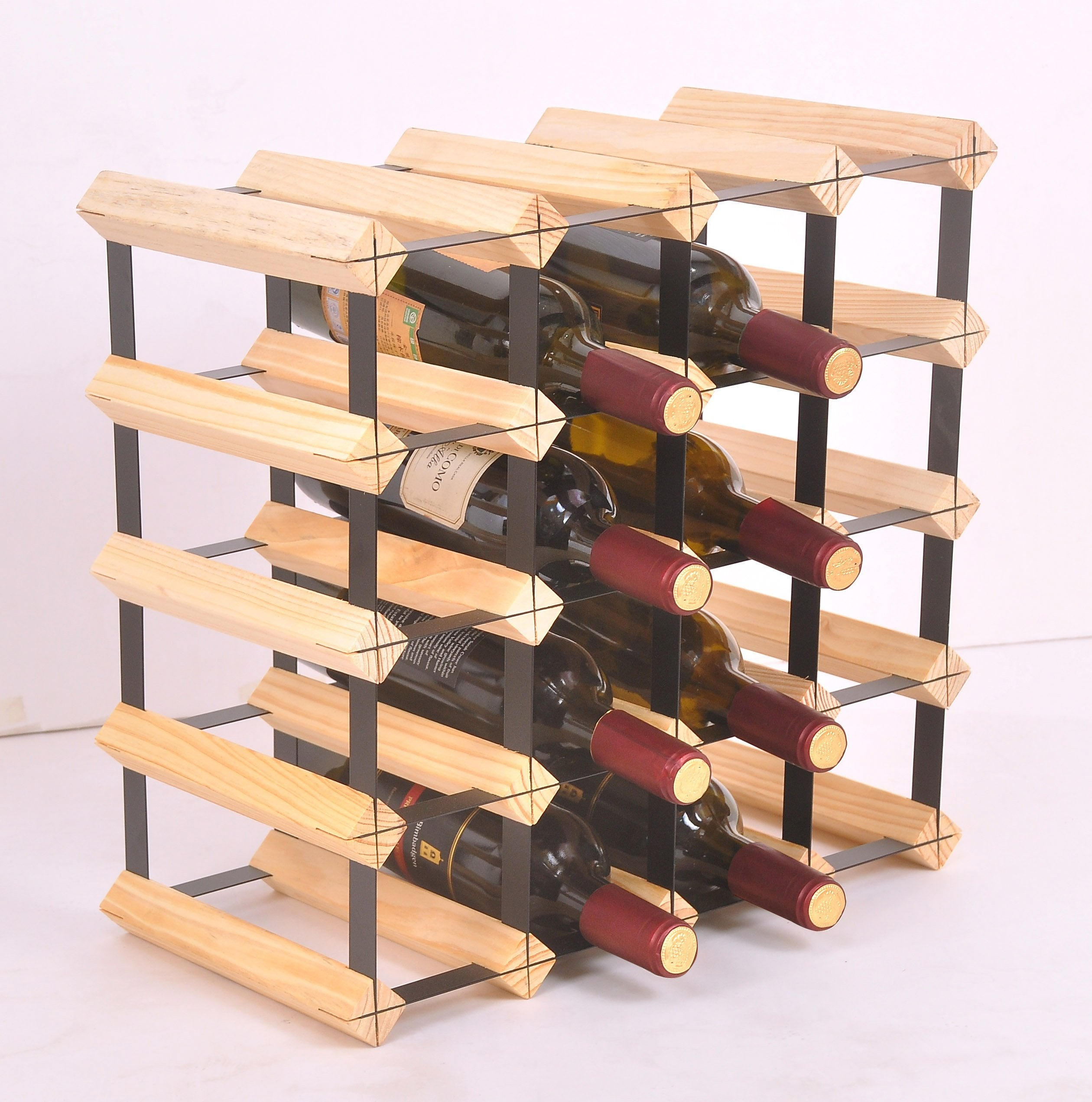 20 Bottle Timber Wine Rack - Complete Wooden Wine Storage System