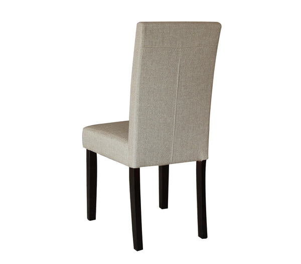 2 x Premium Fabric Linen Palermo Dining Chairs High Back - Dark Sandy Brown