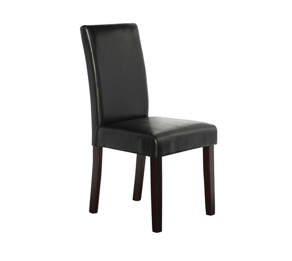 2 x PU Leather Palermo Dining Chairs High Back - Black