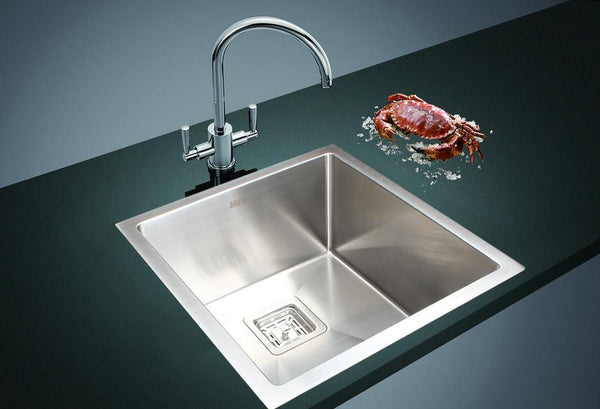 430x455mm Handmade 1.5mm Stainless Steel Undermount / Topmount Kitchen Sink with Square Waste