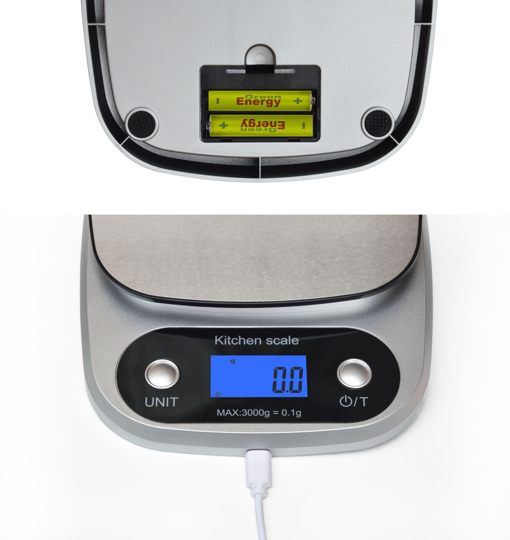 0.1g High Precision Kitchen Scale Rechargable Food Scale Digital 3KG