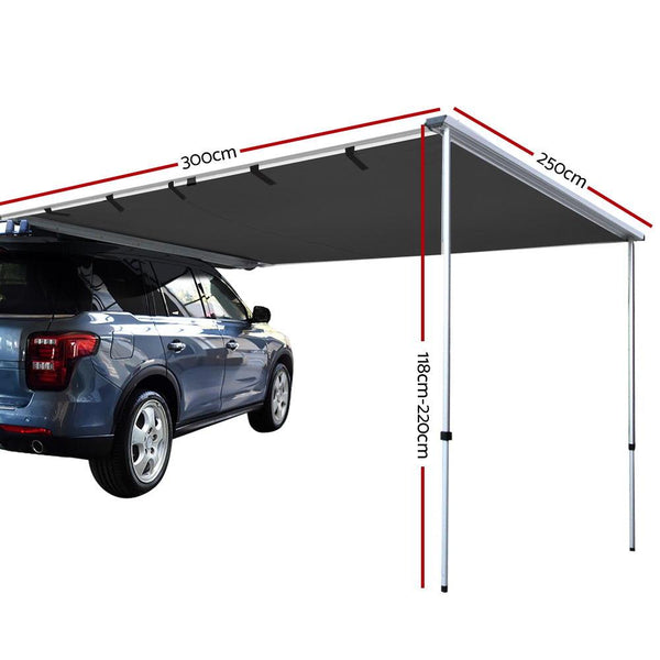 Car Shade Awning 2.5 x 3M - Charcoal Black