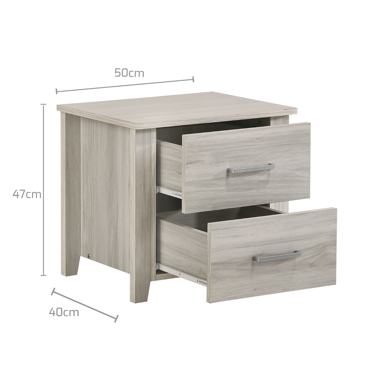 2 Drawers Bedside Table In White Oak
