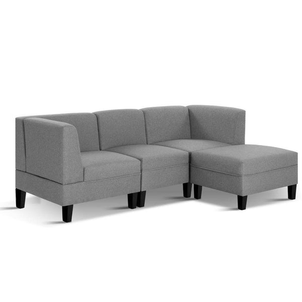 Artiss 4 Seater Sofa Set Bed Modular Lounge Chair Chaise Suite Fabric