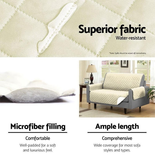 Artiss Sofa Cover Quilted Couch Covers Protector Slipcovers 3 Seater Khaki