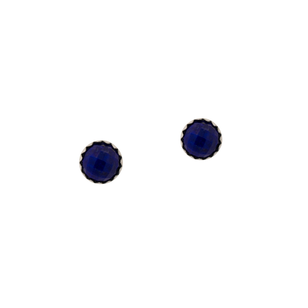 Rose Cut Lapis Lazuli Stud Earrings in Sterling Silver