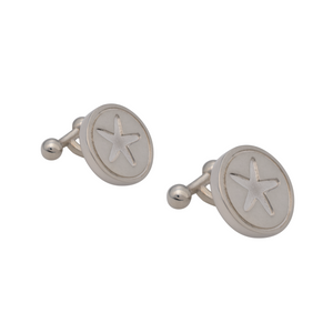 Starfish Circle Cufflinks Sterling Silver