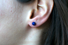 Load image into Gallery viewer, Rose Cut Lapis Lazuli Stud Earrings
