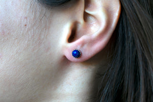 Rose Cut Lapis Lazuli Stud Earrings
