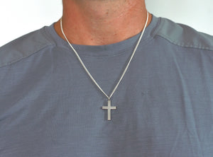 Men's Cross Necklace Sterling Silver