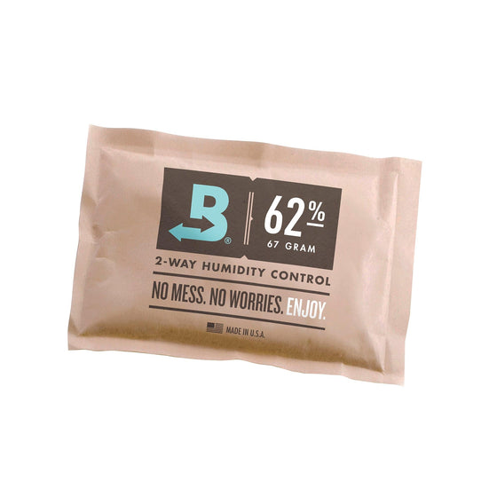 Boveda's patented 62% humidity control packs regulate moisture content, keeping the contents of your containers at the perfect desired level. They don't need any activation or maintenance.