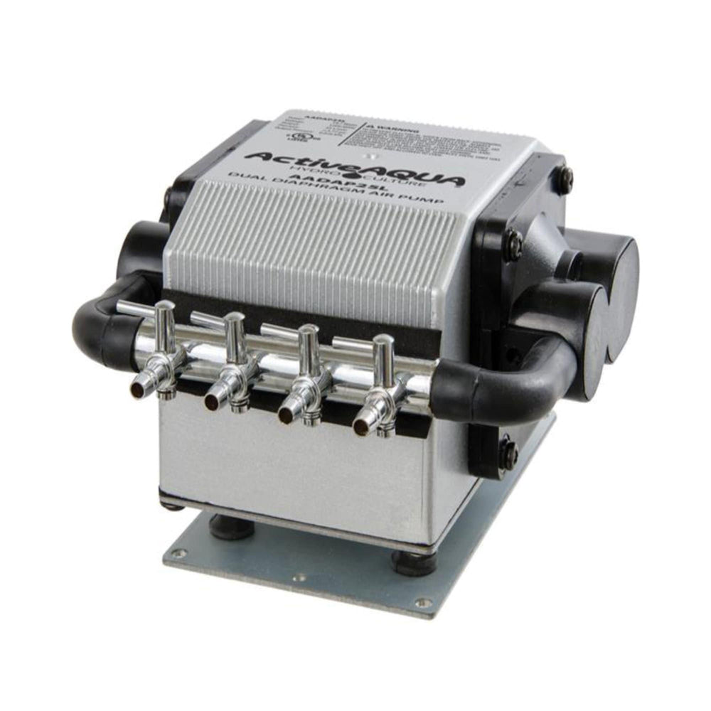 "The Active Aqua Dual Diaphragm Air Pump is ideal for all hydroponic applications where quiet, consistent, and powerful airflow output is required. Its multi-outlet divider accepts 0.25"" tubing and provides up to four separate channels of high volume air output which, if desired, can be further distributed with tees in order to provide aeration via air stones to up to twelve hydroponics buckets or system reservoirs."
