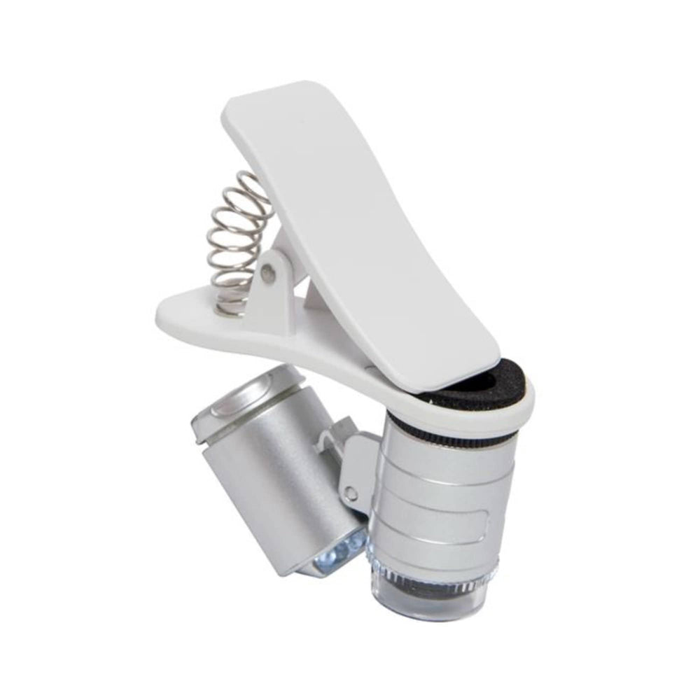 Load image into Gallery viewer, The very portable Active Eye Universal Phone Microscope 60x, with clamp used for viewing very small objects and areas.