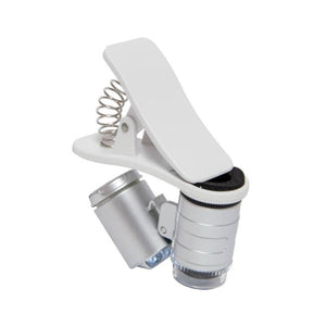 The very portable Active Eye Universal Phone Microscope 60x, with clamp used for viewing very small objects and areas.