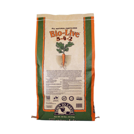 Down To Earth™ Bio-Live 5 - 4 - 2 - A rich, organic fertilizer mix infused with a generous amount of beneficial bacteria and mycorrhizal fungiI to stimulate rooting, vigor and optimum plant development.