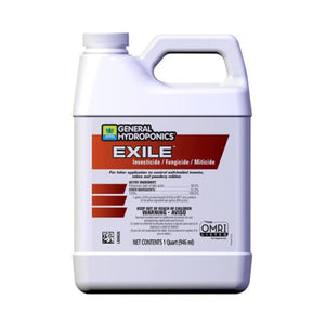 General Hydroponics Exile™ Insecticide / Fungicide / Miticide is OMRI-listed for use in organic gardening and an EPA-registered fungicide. That means one product gives you control of listed pests and diseases (e.g. soft-bodied pests and powdery mildew) in vegetable gardens, landscapes and greenhouses. The formulation is based on potassium salts of naturally derived fatty acids.
