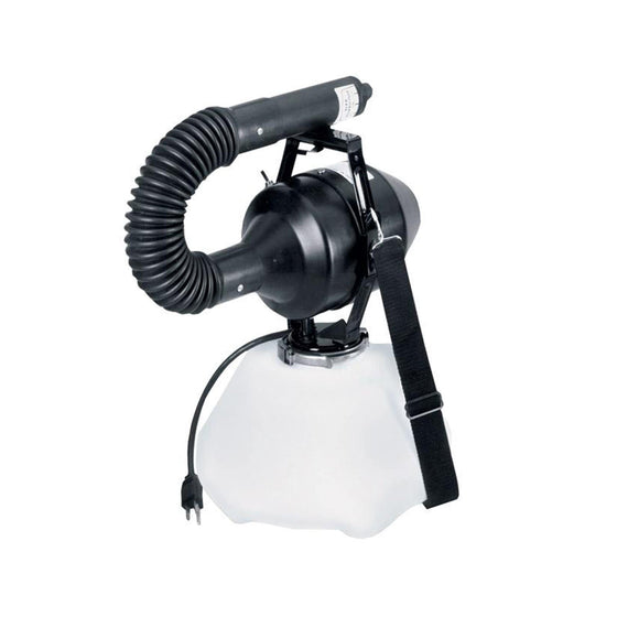 FOG Electric Atomizer Sprayer Ultra Low Volume Mist for Indoor/Outdoor Use • Adjustable output of 1.5-14 gallons per hour • Includes large commercial coiled hose for directing ULV chemical mist • Operates on 110V AC power • Lightweight poly tank—2 gallon • Outputs 22 - 46 microns particle size—average droplet 20 micron • Sprays 13.5 feet • For portable use • Carrying strap • 90-day limited warranty
