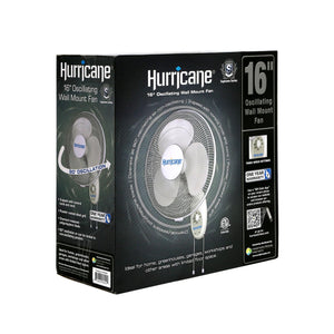 Load image into Gallery viewer, The Hurricane® 16 in Oscillating Wall Mount Fan has 3 speeds (high, medium and low) controlled by a dial or pull cords. Ideal for homes, greenhouses, garages, workshops and other areas with limited floor space. It has 90° oscillation or can be locked in a non-oscillating position. Also features a multi-position tilt. A powder-coated steel grill is clean and durable. The fan blade is made of chemical-resistant polypropylene.
