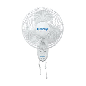 The Hurricane® 16 in Oscillating Wall Mount Fan has 3 speeds (high, medium and low) controlled by a dial or pull cords. Ideal for homes, greenhouses, garages, workshops and other areas with limited floor space. It has 90° oscillation or can be locked in a non-oscillating position. Also features a multi-position tilt. A powder-coated steel grill is clean and durable. The fan blade is made of chemical-resistant polypropylene.