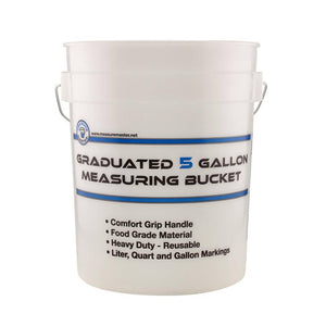 Measure Master® Graduated Measuring Buckets are made from a semi-transparent white heavy-duty plastic. This bucket can hold dry or wet materials. Buckets come with a foam comfort grip handle for easy lifting and carrying. Imprinted on each bucket are calibrated measurements in quarts, gallons and liters for easy measuring and mixing. Great for a variety of household and worksite applications.
