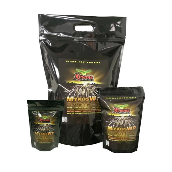 Xtreme Mykos WP Pure Mycorrhizal Inoculum, (Wettable Powder in its packaging showing all three sizes of the product.