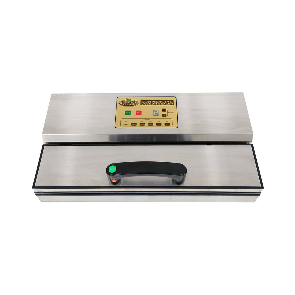 Load image into Gallery viewer, The Harvest Keeper® Commercial Vacuum Sealer with Instant Start Handle is a premium heavy-duty unit constructed from durable stainless steel and features a digital display with touch control to adjust settings. Preset options allow you to choose seal time, marinade mode and even manually control the vacuum using the pulse function, making this the most versatile sealer in its class. Once your settings are selected, simply press the instant start button on the handle and the sealer does the rest.