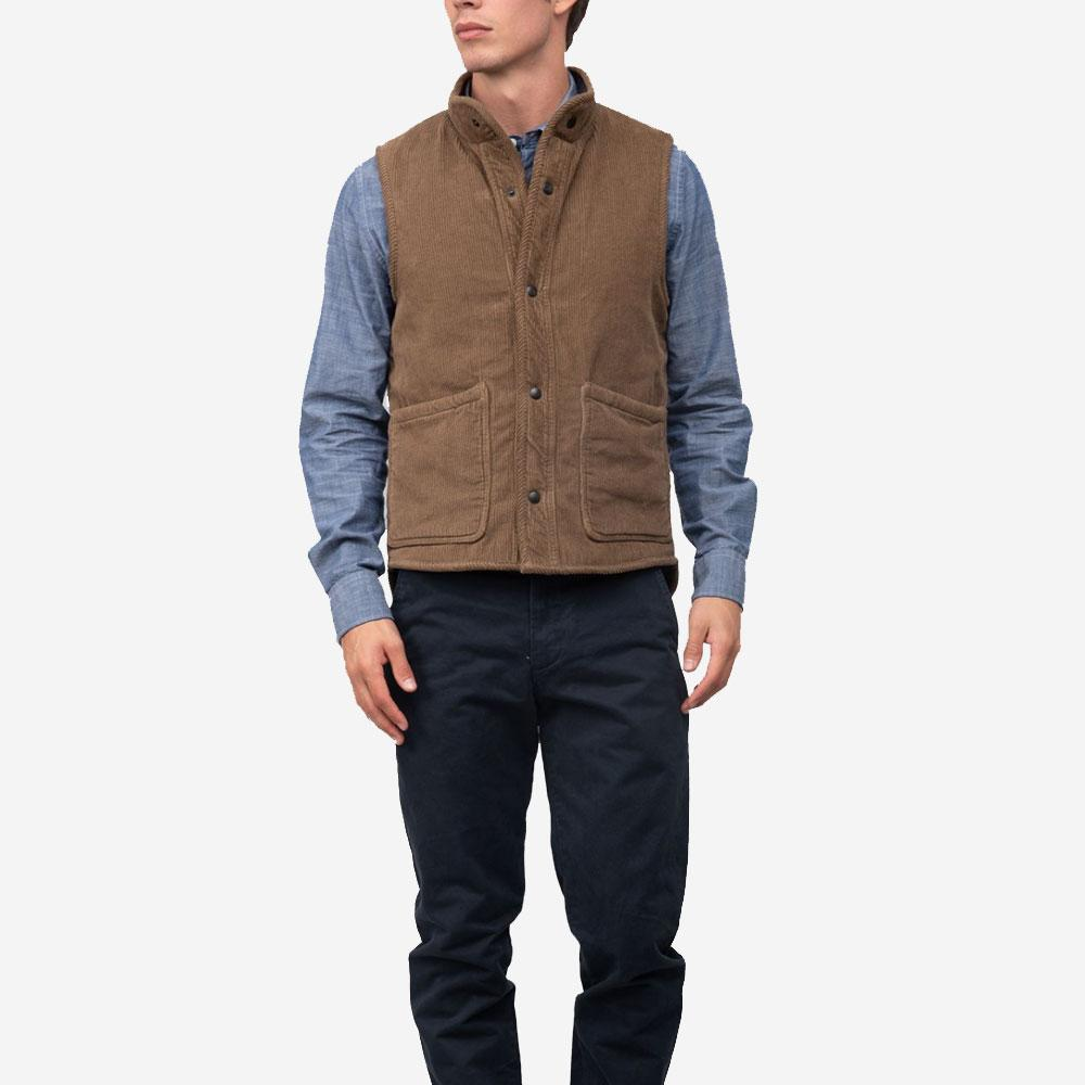 Save Khaki United Sherpa Lined Corduroy Vest - Tobacco
