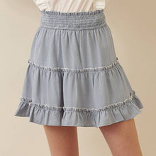 Load image into Gallery viewer, Gingham Smocked Waist Mini Skirt