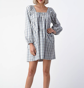 Square Neck Babydoll dress- Gingham