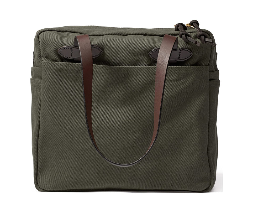 Filson Rugged Twill Tote Bag with Zipper-Otter Green