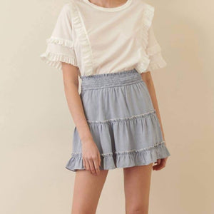 Gingham Smocked Waist Mini Skirt