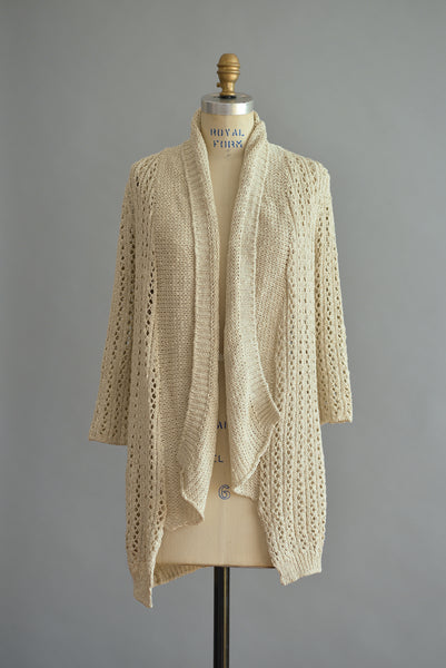 Handknit Open Long Cardigan