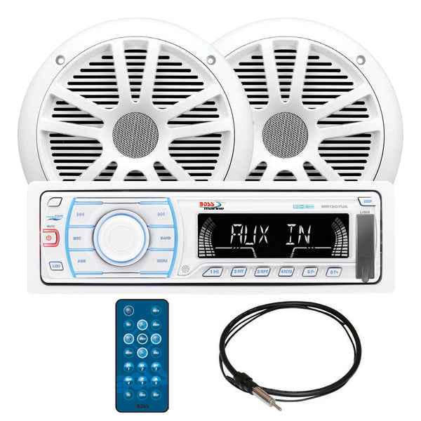 "Boss Audio MCK1307W.6 Marine Digital Media AM/FM Receiver; Pair of 6.5"" MR6W Speakers & MRANT10 Antenna"