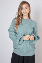 Load image into Gallery viewer, Teal Cable Knit Sweater