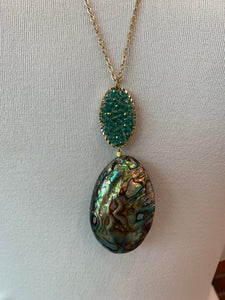 Abalone Teal Necklace- PN3
