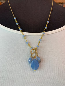 Baby Blue Bead Necklace- N12