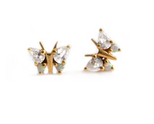 Load image into Gallery viewer, Opal and Diamond Butterfly Belle Studs