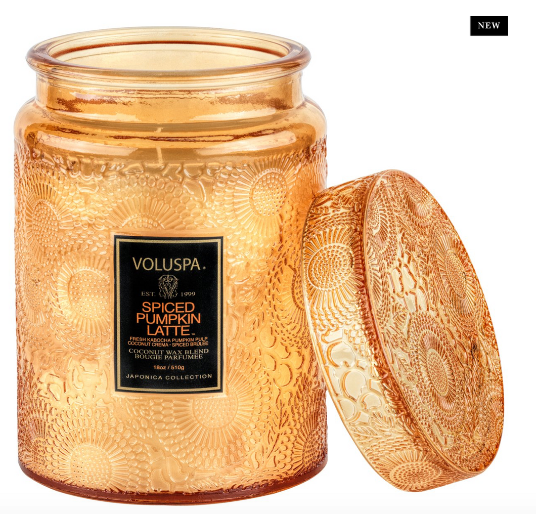Spiced Pumpkin Latte Large Glass Jar Candle