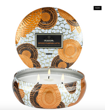 Load image into Gallery viewer, Spiced Pumpkin Latte Three Wick Tin Candle