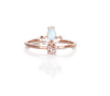 Load image into Gallery viewer, Rose Gold Morganite, Topaz and Rainbow Moonstone La Viva Ring