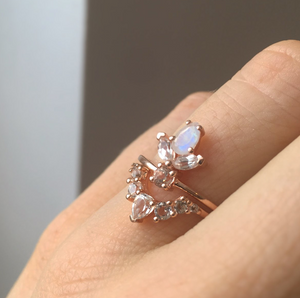 Rose Gold Morganite, Topaz and Rainbow Moonstone La Viva Ring