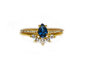 London Blue Topaz & Diamond Dancing Unicorn Ring