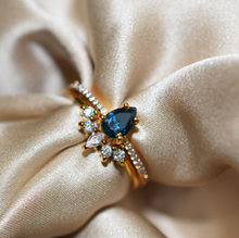 Load image into Gallery viewer, London Blue Topaz & Diamond Dancing Unicorn Ring